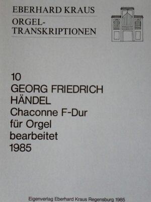 Georg Friedrich Händel: Chaconne F-Dur für Orgel bearbeitet